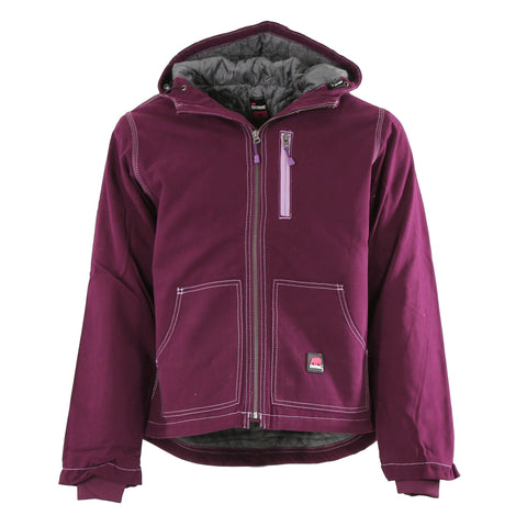 Berne Ladies Plum 100% Cotton Ladies Hooded Jacket