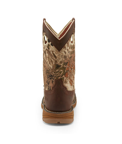 Justin 11in ST WP Mens Grizzly Brown Stampede Rush Leather Work Boots