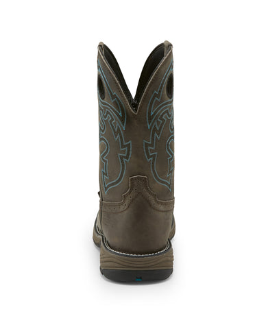 Justin 11in WP ST Mens Magnetic Steel Stampede Rush Leather Work Boots
