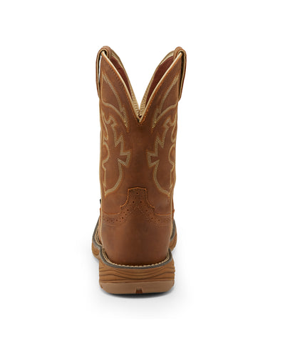 Justin 11in WP EH Mens Rustic Tan Stampede Rush Leather Work Boots