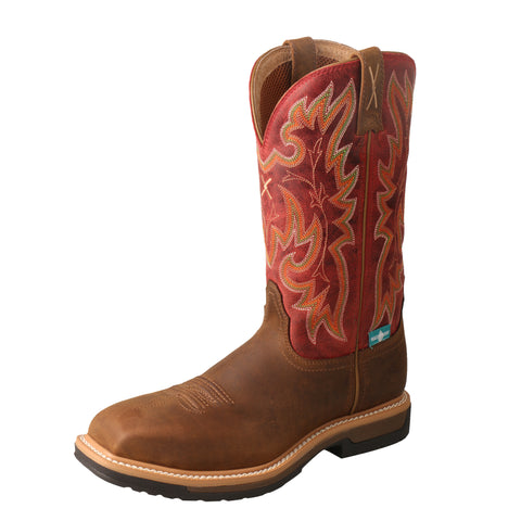Twisted X Womens Saddle/Red Leather 11in CT WP Work Boots