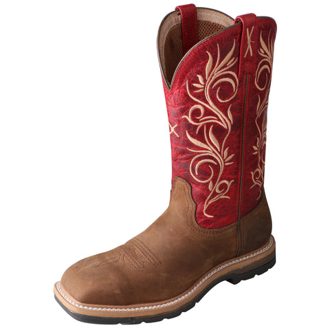 Twisted X Womens Red Leather Steel Toe Lite Weight Cowboy Work Boots