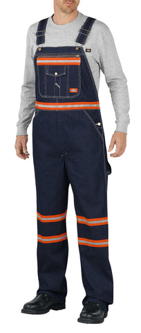 Dickies Mens Indigo Blue Enhanced Visibility Denim Bib Overall