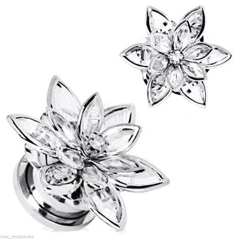 "PAIR-Flower 3D Clear Crystal Steel Screw On Plugs 12mm/1/2"" Gauge Body Jewelry"