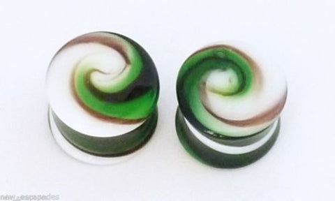 "PAIR-Pyrex Glass Green Swirl Double Flare Plugs 11mm/7/16"" Gauge Body Jewelry"