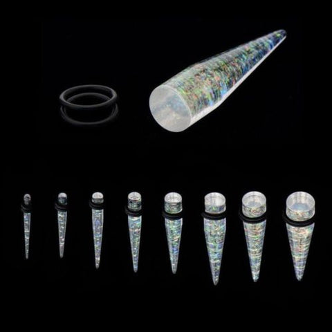 PAIR-Tapers Aura Borealis Glittered Acrylic 08mm/0 Gauge Body Jewelry