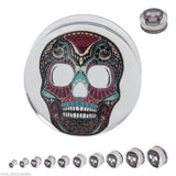 "PAIR-Sugar Skull Clear Acrylic Double Flare Plugs 19mm/3/4"" Gauge Body Jewelry"
