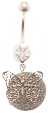 Belly Ring Butterfly Filigree Pewter Animal Dangle Naval Steel Body Jewelry
