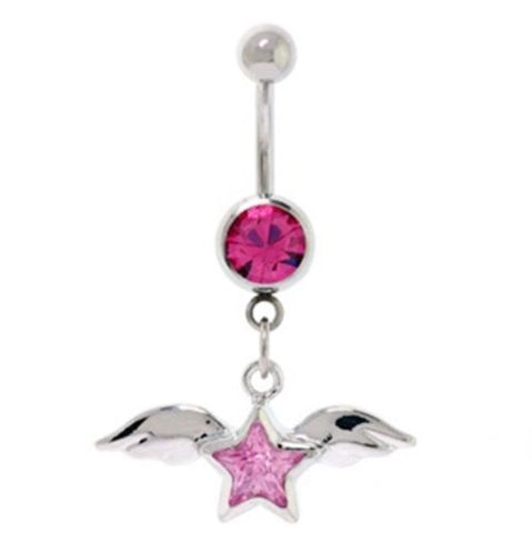 Belly Ring Angel Wings & Star w/Pink Gems Dangle Naval Steel Body Jewelry