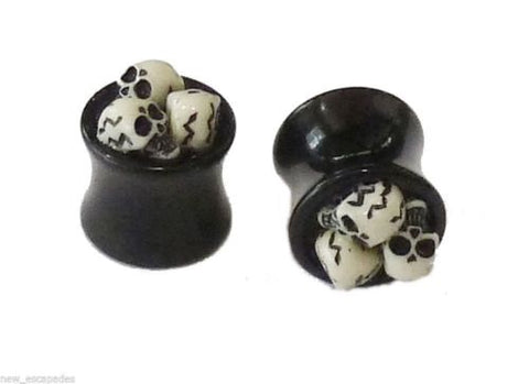 PAIR-3D Skulls Acrylic Double Flare Plugs 10mm/00 Gauge Body Jewelry