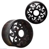 "PAIR-Wood Sono Tribal Motif Cut Double Flare Tunnels 19mm/3/4"" Gauge Body Jewelr"