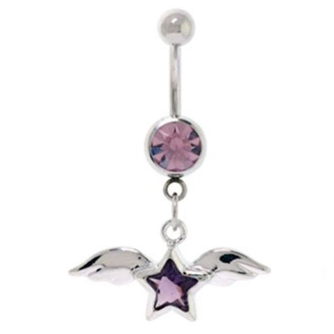 Belly Ring Angel Wings & Star w/Purple Gems Dangle Naval Steel Body Jewelry