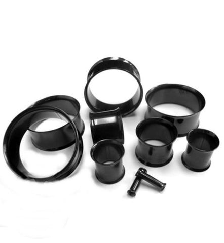 "PAIR-Titanium Black PVD Double Flare Tunnels 16mm/5/8"" Gauge Body Jewelry"