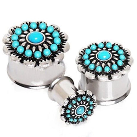 PAIR-Turquoise Flower Steel Double Flare Plugs 10mm/00 Gauge Body Jewelry