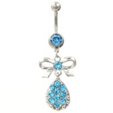 Belly Ring Bow Ribbon w/Waterdrop Blue Gemmed Dangle Naval Steel Body Jewelry