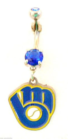 Belly Ring MLB Baseball Milwaukee Brewers Glove Sports Dangle Naval Body Jewelry