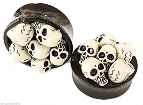 "PAIR-3D Skulls Acrylic Double Flare Plugs 28mm/1-1/8"" Big Gauge Body Jewelry"