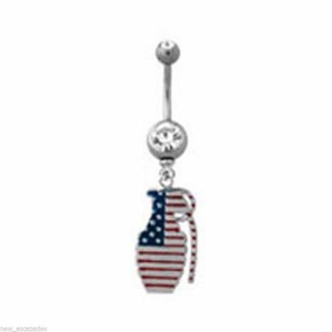 Belly Ring Hand Grenade Patriotic Red/White/Blue Dangle Naval Steel Body Jewelry