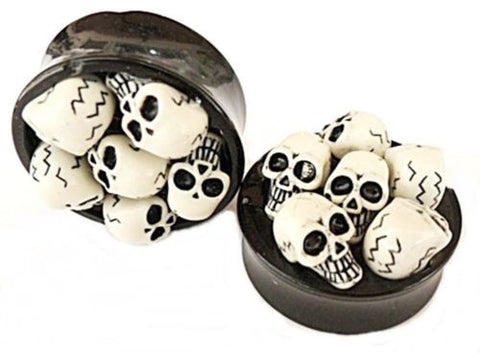 "PAIR-3D Skulls Acrylic Double Flare Plugs 26mm/1-1/16"" Big Gauge Body Jewelry"