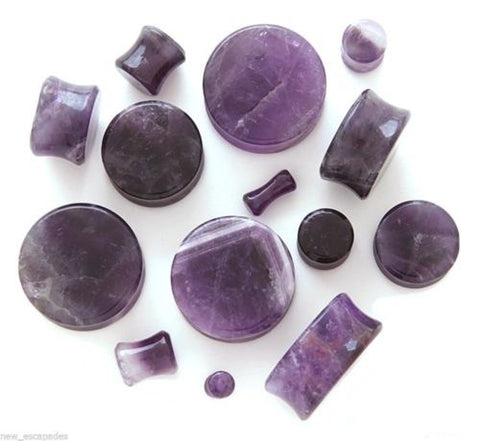 PAIR-Stone Amethyst Double Flare Plugs 05mm/4 Gauge Body Jewelry