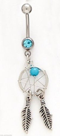 Belly Ring Dream Catcher Traditional Feathers w/Blue Gem Dangle Naval Steel Body