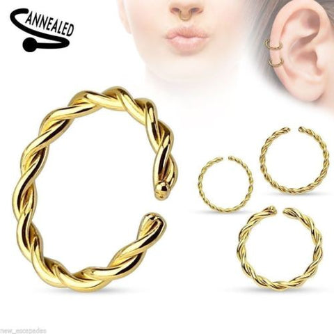"Captive Lip Ear Eyebrow Ring Annealed 16 Gauge 3/8"" Braided Gold Plate Body Jewe"