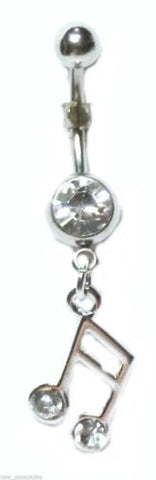Belly Ring Music Note Ottava Clear Gem Dangle Naval Steel Body Jewelry