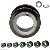 "PAIR-Titanium Black w/Steel Inlay Screw On Tunnels 12mm/1/2"" Gauge Body Jewelry"