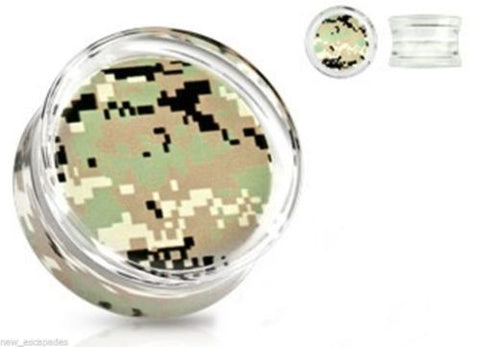"PAIR-Camouflage Green Pixel Acrylic Double Flare Plugs 12mm/1/2"" Gauge Body Jew"