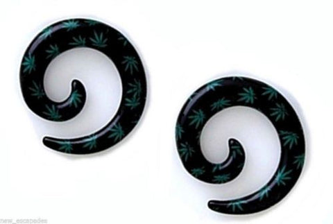 PAIR-Tapers Spiral Weed Pot Leaf Black Acrylic 03mm/8 Gauge Body Jewelry