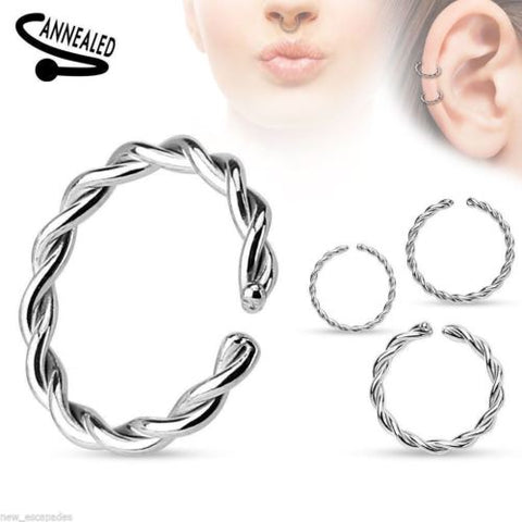 "Captive Segment Annealed Ring 14 Gauge 3/8"" Braided Steel Body Jewelry"
