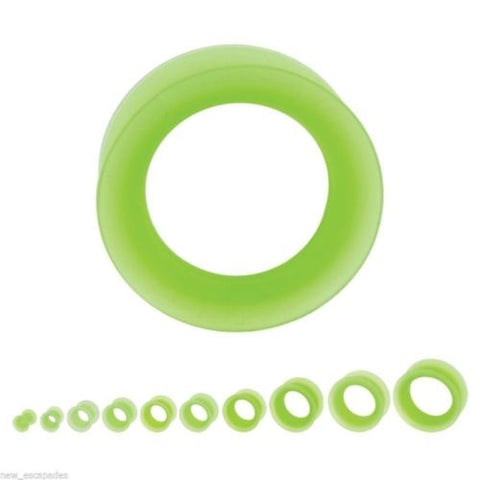 PAIR-Flexi Thin Green Light Double Flare Silicone Tunnels 10mm/00 Gauge Body Jew