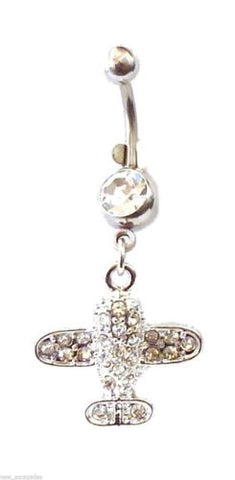 Belly Ring Airplane Jet Covered in Clear Gems Dangle Naval Steel Body Jewelry