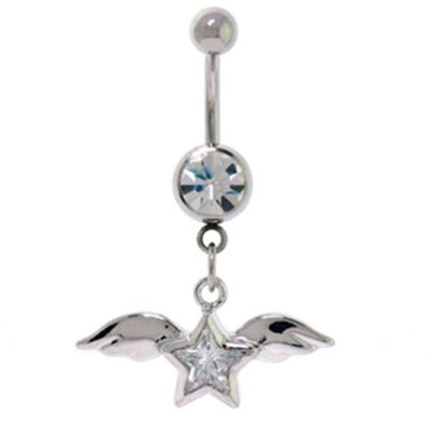 Belly Ring Angel Wings & Star w/Clear Gems Dangle Naval Steel Body Jewelry