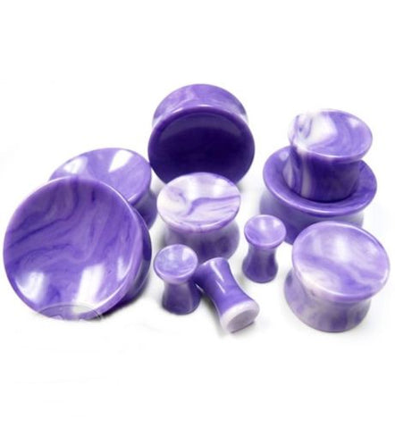 PAIR-Stone Agate Purple Concave Double Flare Plugs 10mm/00 Gauge Body Jewelry