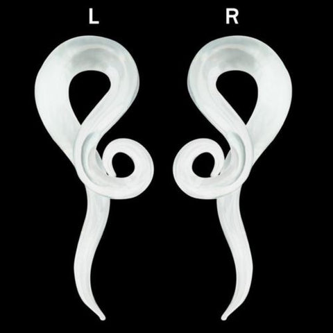 PAIR-Tapers Twist Pyrex Glass Translucent Clear 10mm/00 Gauge Body Jewelry