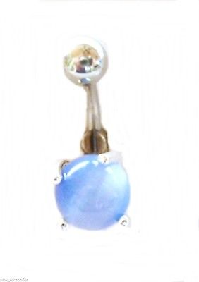 Belly Ring Cat's Eye Blue Light Non Dangle Naval Steel Body Jewelry