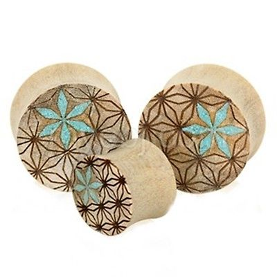 "PAIR-Wood Croc w/Turquoise Inlay Double Flare Plugs 22mm/7/8"" Gauge Body Jewelry"