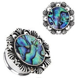 "PAIR-Flower w/Opal Inlay Steel Double Flare Tunnels 12mm/1/2"" Gauge Body Jewelry"