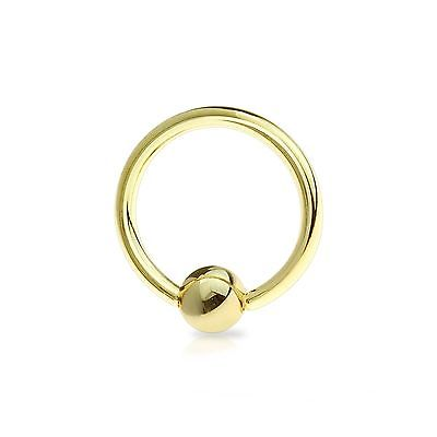 "Captive Nose Ear Ring 18 Gauge 3/8"" Gold Plate 3mm Ball Body Jewelry"