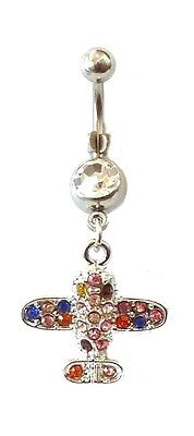 Belly Ring Airplane Jet Covered in Multi-Colored Gems Dangle Naval Steel Body Je