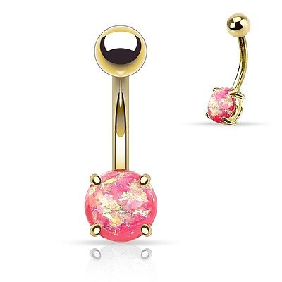 Belly Ring Gold Plate Opal Glitter Pink Gem Non Dangle Body Jewelry