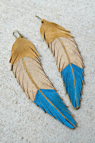 Farrah Feather Earrings: Tan + Gold + Turquoise