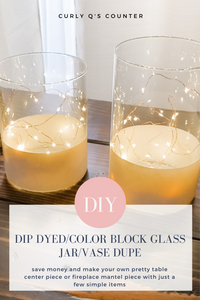 DIY Dip Dyed Color Block Glass Vase with Lights