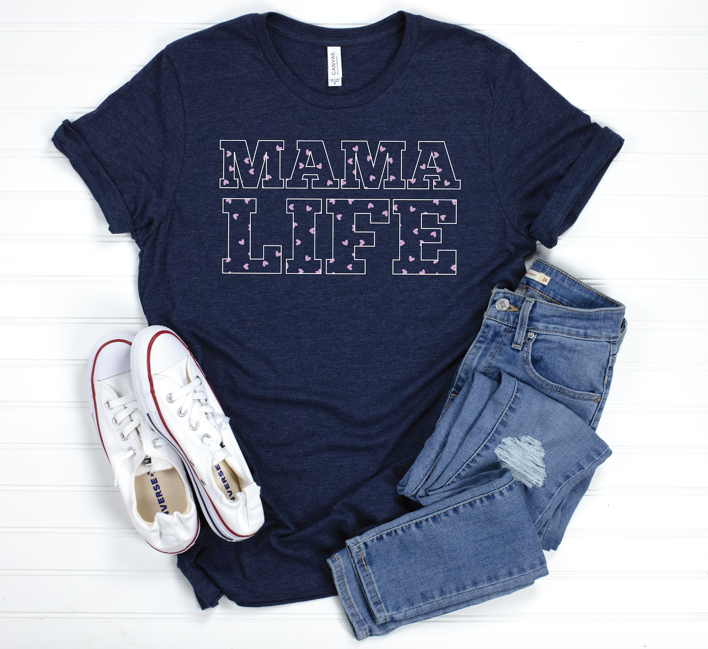 PREORDER Mama Life - Hearts [Heather Midnight Navy - 2 color print]