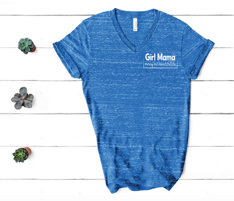 PREORDER Girl Mama [Royal Blue Marble V Neck - Distressed Print]