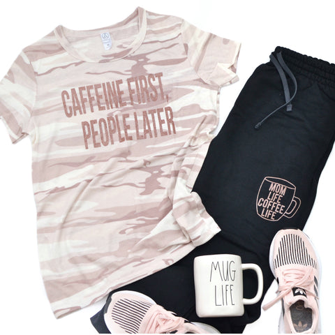 PREORDER Caffeine First People Later [Blush Camo]