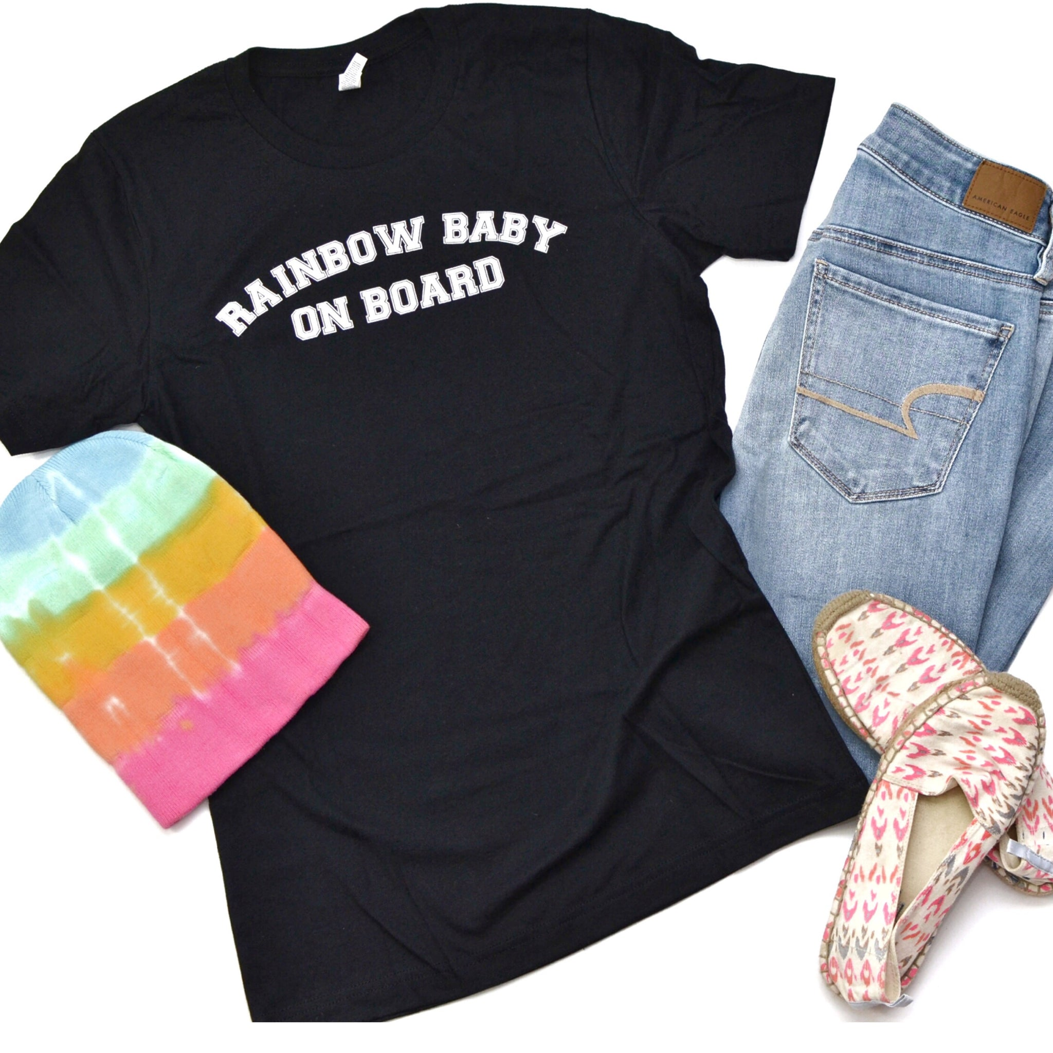 Rainbow Baby On Board [Black Crewneck]