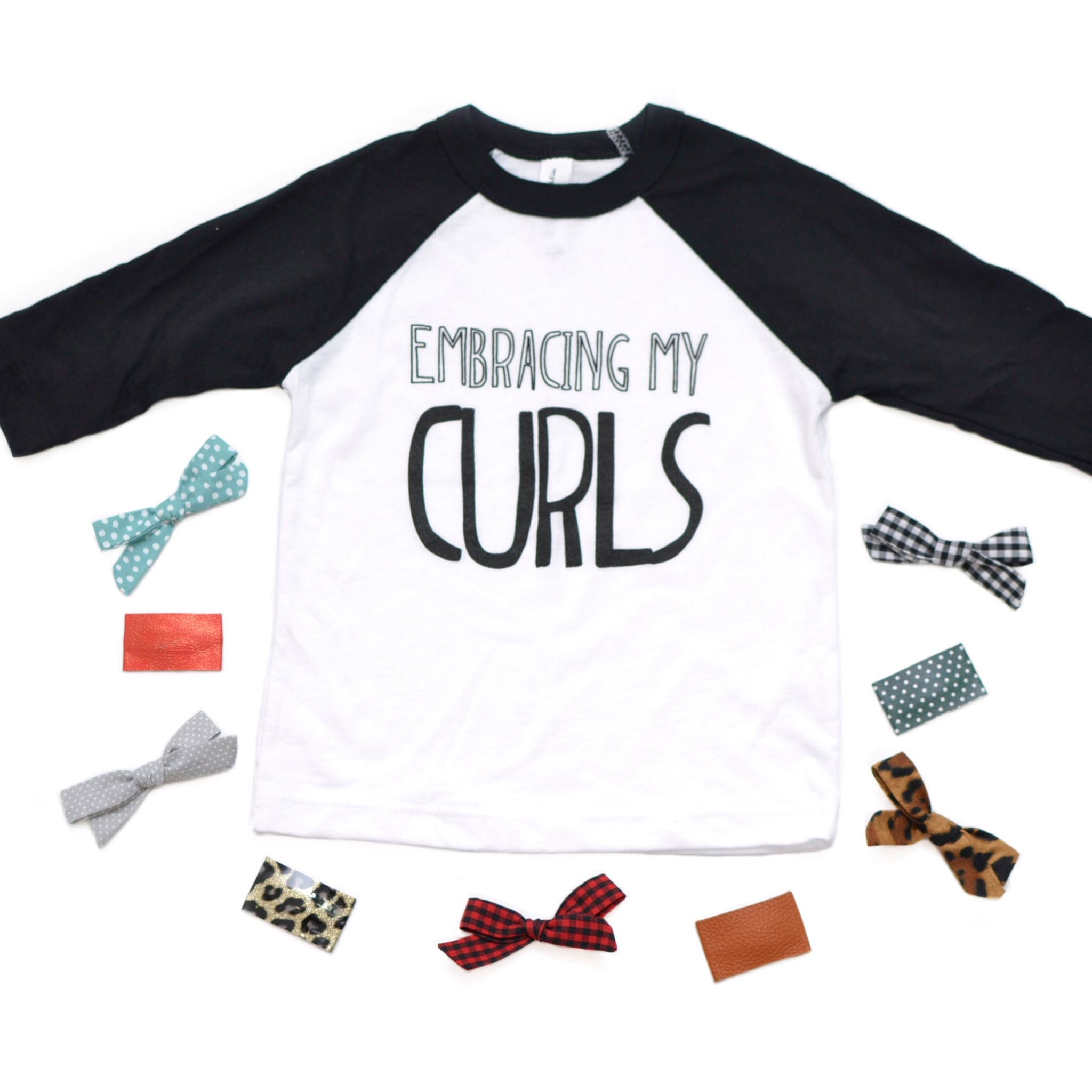 Embracing My Curls [Youth 3/4 Length Raglan]