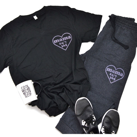 Mama 24/7 Heart Print [Black V Neck with Unicorn Dust Glitter]